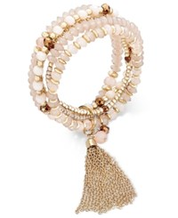 Inc International Concepts Gold Tone Multi Row Beaded Chain Tassel Stretch Bracelet Only At Macy's Blush