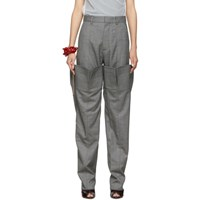 Y Project Grey Check Double Leg Trousers