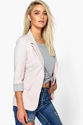Boohoo Turn Up Cuff Woven Blazer Blush