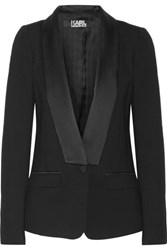 Karl Lagerfeld Satin Trimmed Stretch Ponte Blazer Black