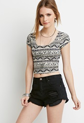 Forever 21 Floral Tribal Print Crop Top Taupe Multi