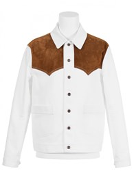 Umit Benan Western Jacket With Embroidered Back Whi Tabacco