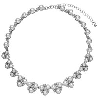 John Lewis Faux Pearl And Cubic Zirconia Cluster Collar Necklace Silver