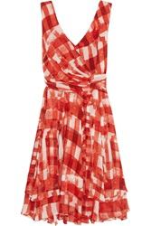 Oscar De La Renta Gingham Silk Chiffon Dress Red
