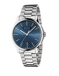 Gucci Stainless Steel Blue Dial Bracelet Watch Silver