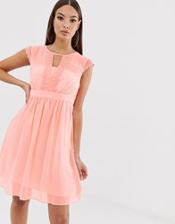 Naf Naf Romantic Pastel Soft Mesh Dress In Empire Still With Lace Pink