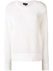Theory Open Knit Jumper White