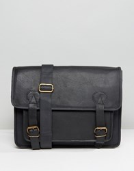 Reclaimed Vintage Leather Satchel In Black Black