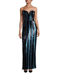 Milly Pailette Striped Strapless Gown Blue