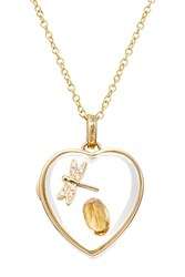Loquet 14Kt Heart Locket With 18Kt Charm Diamonds And Citrine Multicolor