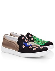 Joshua Sanders Black And Taupe Peacock Slip On Sneakers Blue