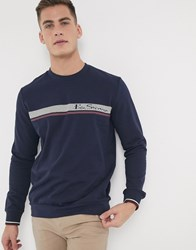 Ben Sherman Stripe Logo Sweat Navy