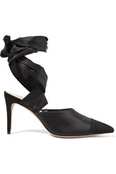 Alexandre Birman Lace Up Silk Satin And Suede Pumps Black