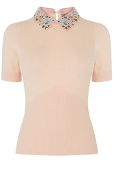 Oasis Embroidered Collar Knit Pink