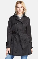 Women's Betsey Johnson Piped Double Breasted Trench Coat Black Black