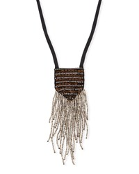 Eileen Fisher Metal And Sequin Silk Pendant Necklace Graphite