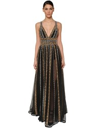Elie Saab Embellished Chiffon Tulle Dress Black