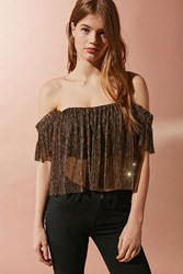 Urban Outfitters Uo Pleated Shimmer Off The Shoulder Top Gold