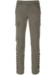 Versus Lace Up Cargo Trousers Cotton Polyester Spandex Elastane Lyocell Grey