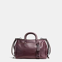 Coach Rogue Satchel In Glovetanned Pebble Leather Black Copper Oxblood