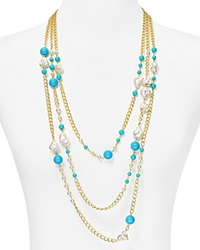 Kenneth Jay Lane Beaded Multi Strand Necklace 27 Turquoise Pearl