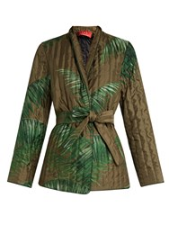 F.R.S For Restless Sleepers Aura Palm Print Quilted Silk Jacket Green Print