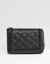 Asos Quilted Shoulder Bag With Chain Handle Black
