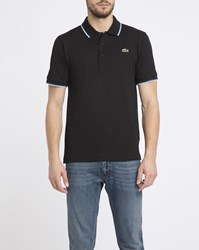 Lacoste Black Sport Polo Shirt With White And Navy Trim
