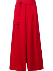 Tome Wide Legged Cropped Trousers Red