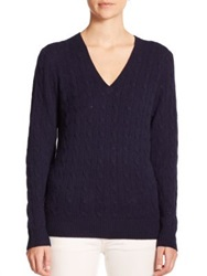 Polo Ralph Lauren Cashmere Cable Knit Sweater Hunter Navy