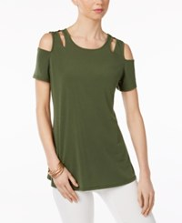 Ny Collection Cold Shoulder Cutout Blouse Chive Green