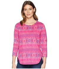 Fresh Produce Stamped Geo Catalina Top Raspberry Clothing Pink