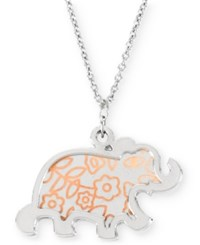 Betsey Johnson Silver Tone Elephant Pendant Necklace