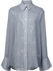 Nomia Gingham Sheer Long Sleeve Blouse Blue