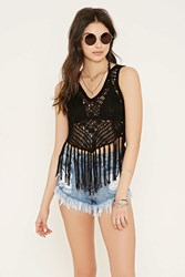 Forever 21 Open Crochet Fringe Top