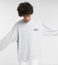 Noak Long Sleeve T Shirt With Rubber Logo With Wash Grey