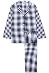 Sleepy Jones Marina Gingham Cotton Poplin Pajama Set Navy