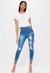 Missguided Blue High Waisted Chewed Hem Skinny Jeans