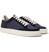 Brunello Cucinelli Leather Trimmed Suede And Ripstop Sneakers Blue