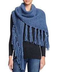 Fraas Cable Knit Triangle Scarf Denim