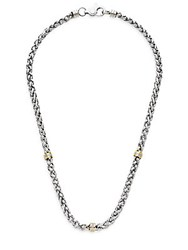 Lotus 14K Yellow Gold And Stainless Steel Wheat Chain Necklace Silver