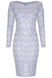 True Decadence Lace Pencil Dress Blue