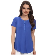 Nydj Petite Petite Key Item S S Pleat Back Henley Ultra Marine Women's Short Sleeve Pullover Blue