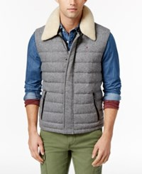 Tommy Hilfiger Men's Miles Mixed Media Down Vest With Fleece Collar Silver Fog Heather