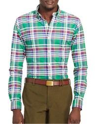 Polo Ralph Lauren Slim Fit Plaid Stretch Oxford Shirt Green Wine
