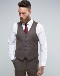 Harry Brown Slim Fit Waistcoat In Khaki Check Green
