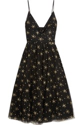 Valentino Glitter Finished Embroidered Tulle Midi Dress Black