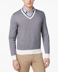 Brooks Brothers Red Fleece Men's Textured Cotton V Neck Sweater Blue