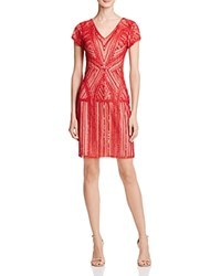 Parker Black Serena Embellished Silk Dress Ruby Red