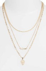 Treasure And Bond 3 Pack Necklace Set Clear Multi Gold